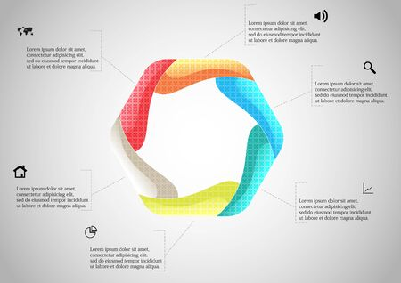 Vector infographic template with colorful hexagon. Hexagon is created by six curved elements. All sections contain pattern and texture fill. Background is light grey.