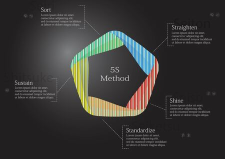 5S infographic illustration template. Graphic is created by pentagon consists of five curved color elements filled by patterns and textures. Background is dark black.