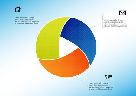 Infographic vector template with shape of circle. Graphic is divided to three color parts filled by patterns. Each section is joined with simple sign. Background is light blue.