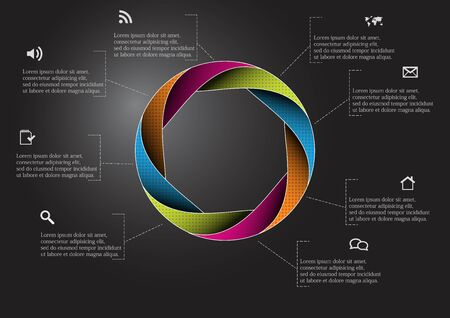 Infographic vector template with shape of circle. Graphic is divided to eight color parts filled by patterns. Each section is joined with simple sign. Background is dark black.