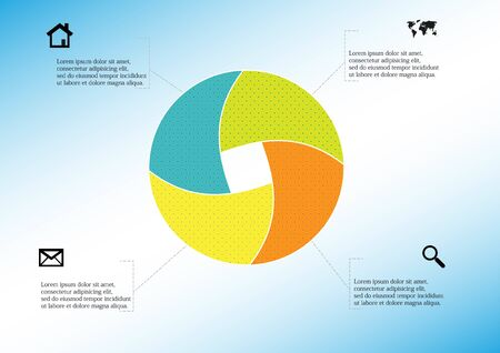 Infographic vector template with shape of circle. Graphic is divided to four color parts filled by patterns. Each section is joined with simple sign. Background is light blue.