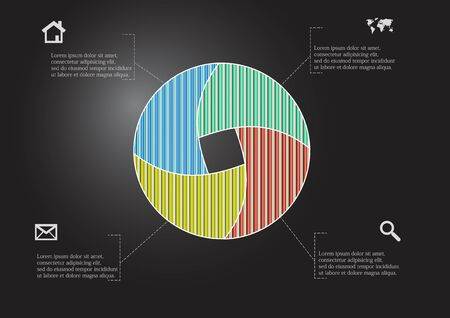 Infographic vector template with shape of circle. Graphic is divided to four color parts filled by patterns. Each section is joined with simple sign. Background is dark black. Illustration