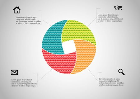 Infographic vector template with shape of circle. Graphic is divided to four color parts filled by patterns. Each section is joined with simple sign. Background is light grey. Stock Vector - 138593781