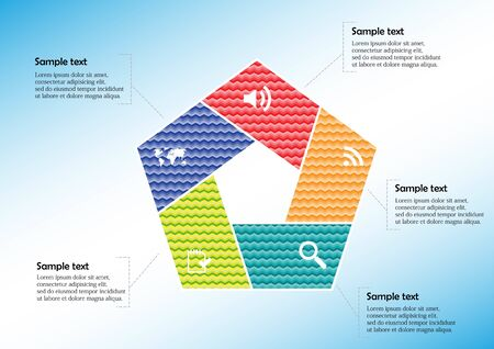 Infographic vector template with shape of pentagon. Graphic is divided to five color parts filled by patterns. Each section contains simple sign. Background is light blue.