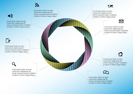 Infographic vector template with shape of circle. Graphic is divided to eight color parts filled by patterns. Each section is joined with simple sign. Background is light blue. Illustration