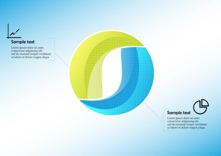 Infographic vector template with shape of circle. Graphic is divided to two color parts filled by patterns. Each section is joined with simple sign. Background is light blue.