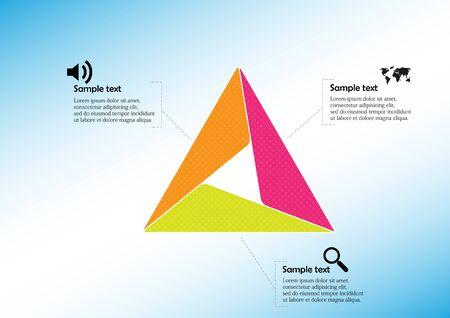 Plantilla de vector de infografía con forma de triángulo. El gráfico se divide en tres partes de color llenas de patrones. Cada sección se une con un simple signo. El fondo es azul claro.