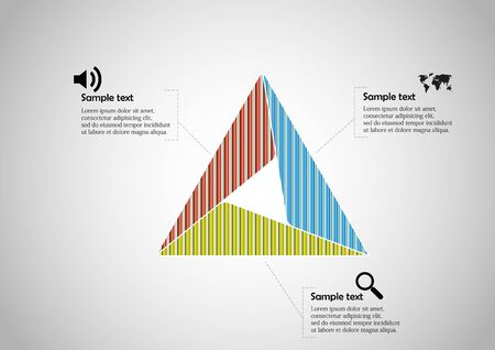 Infographic vector template with shape of triangle. Graphic is divided to three color parts filled by patterns. Each section is joined with simple sign. Background is light grey.