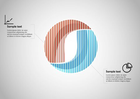 Infographic vector template with shape of circle. Graphic is divided to two color parts filled by patterns. Each section is joined with simple sign. Background is light grey.