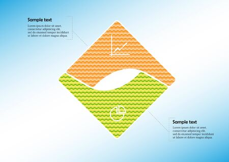 Infographic vector template with shape of square. Graphic is divided to two curved color parts filled by patterns. Each section is joined with simple sign. Background is light blue.