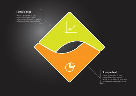 Infographic vector template with shape of square. Graphic is divided to two curved color parts filled by patterns. Each section is joined with simple sign. Background is dark black.