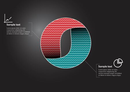 Infographic vector template with shape of circle. Graphic is divided to two color parts filled by patterns. Each section is joined with simple sign. Background is dark black.