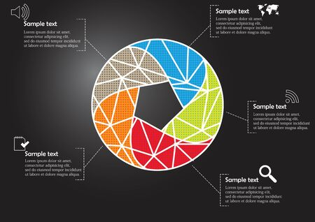 Infographic illustration vector template with motif of circle divided to five color parts. Each section is joined with sign and sample text. Background is dark black. Stock Vector - 139880357