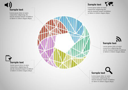Infographic illustration vector template with motif of circle divided to five color parts. Each section is joined with sign and sample text. Background is light grey. Illustration