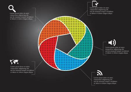Infographic illustration vector template with motif of circle divided to five color parts. Each section is joined with sign and sample text. Background is dark black. Stock Vector - 139881049