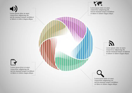 Infographic illustration vector template with motif of circle divided to five color parts. Each section is joined with sign and sample text. Background is light grey. Stock Vector - 141701521