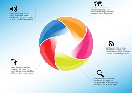 Infographic illustration vector template with motif of circle divided to five color parts. Each section is joined with sign and sample text. Background is light blue.