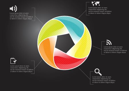 Infographic illustration vector template with motif of circle divided to five color parts. Each section is joined with sign and sample text. Background is dark black. Illustration