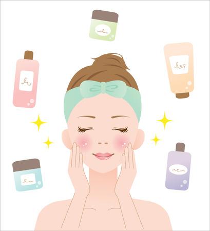 皮膚のケア  イラスト・ベクター素材