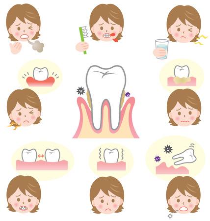歯周疾患の症状  イラスト・ベクター素材