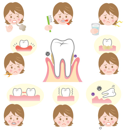 desease: periodontal disease symptom Illustration