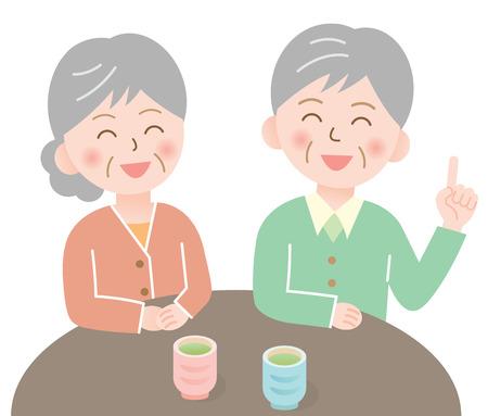 intimate: elderly couple Illustration