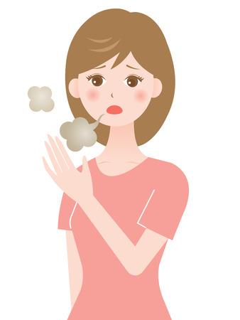 mal aliento: mujer mala respiraci�n