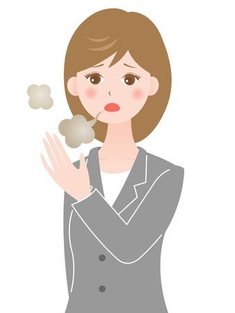 mal aliento: olor de la boca de la mujer