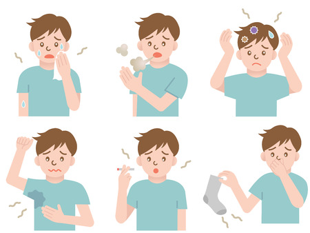 bad breath: odor man Illustration