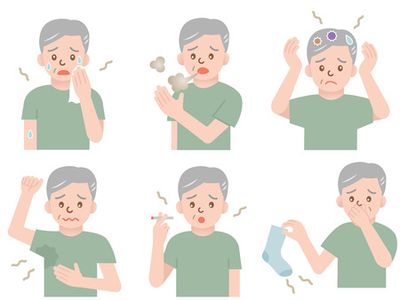 aging geur man Stock Illustratie