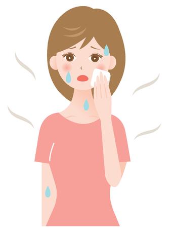 sweat: wiping sweat woman Illustration