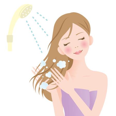 シャワー髪の女性