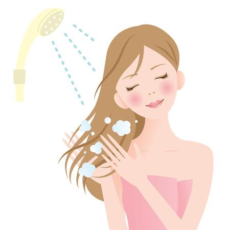 샤워 머리 여자 일러스트