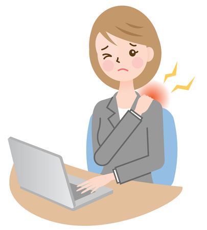 business woman with stiff shoulder
