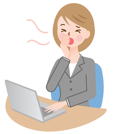 sleepy woman: businesswoman yawning, working at her desk
