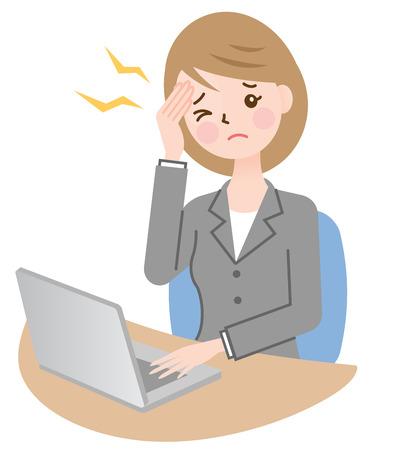 ビジネスの女性と頭痛  イラスト・ベクター素材