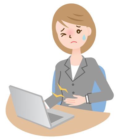zakenvrouw last hebben van maagpijn bij haar bureau Stock Illustratie