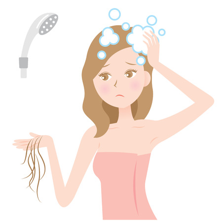 woman worry about losing hair while shampooing. Vectores