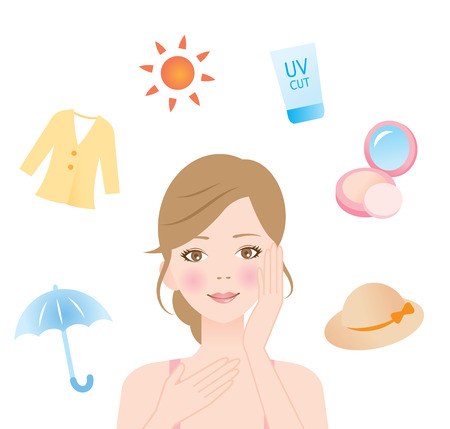 woman protect her skin from ultraviolet rays Ilustrace