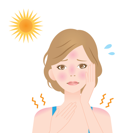 redness: a woman gets sunburns on her face and shoulder