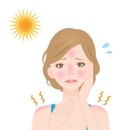 een vrouw krijgt zonnebrand op haar gezicht en schouder
