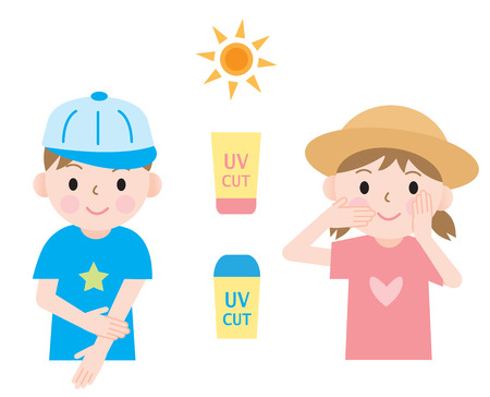 skincare: kids protect their skin from ultraviolet rays with hats and sunscreen.
