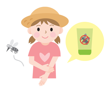 mosquito bite: kids use insect repellent lotion to protect their body from bug.