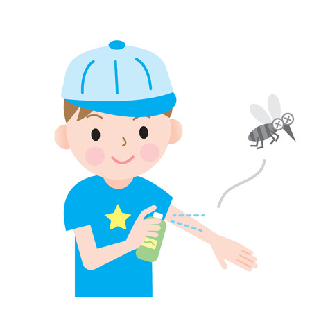 kids use bug spray to protect their body from insects.
