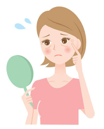 dry skin: winkle woman Illustration