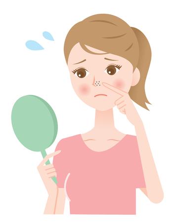 鼻の毛穴  イラスト・ベクター素材