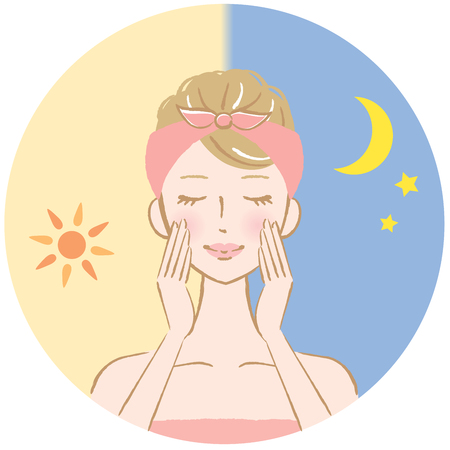 skin care at morning and night time Vettoriali