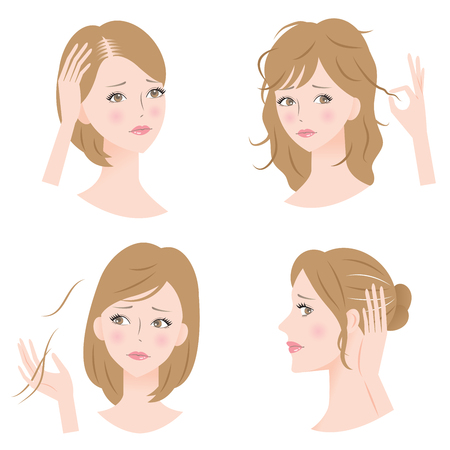 gray hair: womans hair problems Illustration