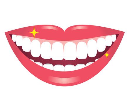 Bouche souriante aux dents blanches Vecteurs