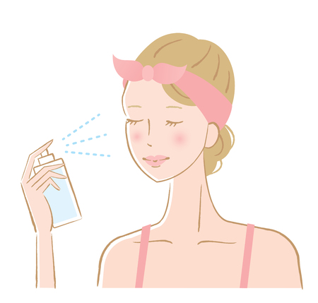 hydrate: Woman spraying facial mist on her face Illustration